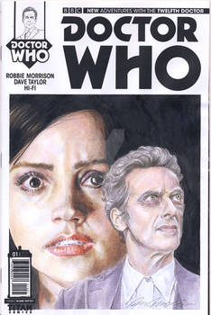 Doctor Who blank sketch cover watercolor painting
