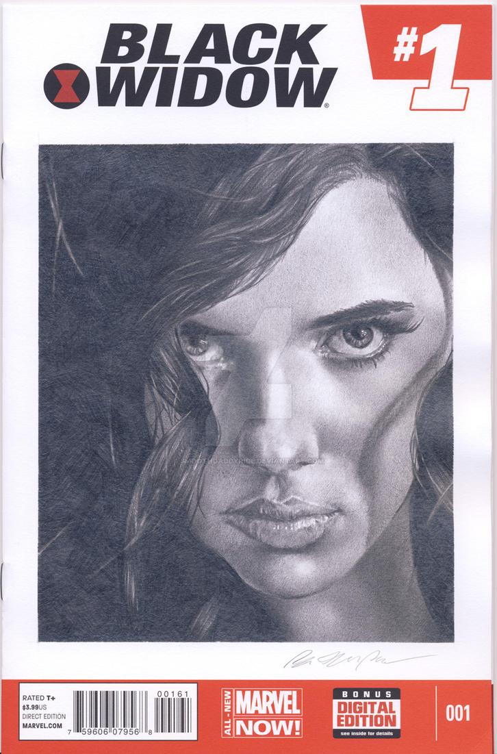Black Widow blank sketch cover commission by smoothdaddyride