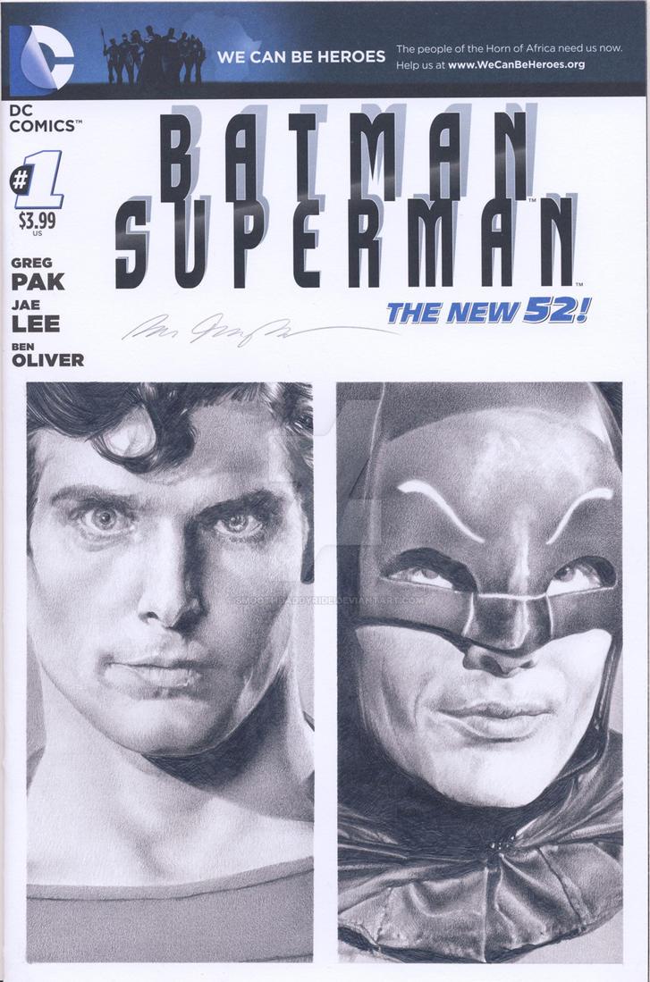 Batman Superman blank sketch cover pencil drawing by smoothdaddyride