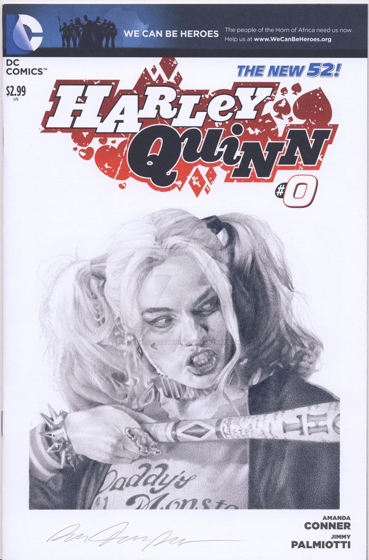 Harley Quinn blank sketch cover commission by smoothdaddyride