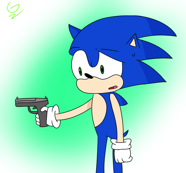 Literally Just A Picture Of Sonic Holding A Gun By Giapetyoutube On Deviantart