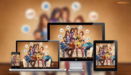 Social Media Junkie Wallpaper by hongkiat