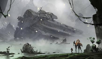 Wreckage on Titan by TheRealArtanas