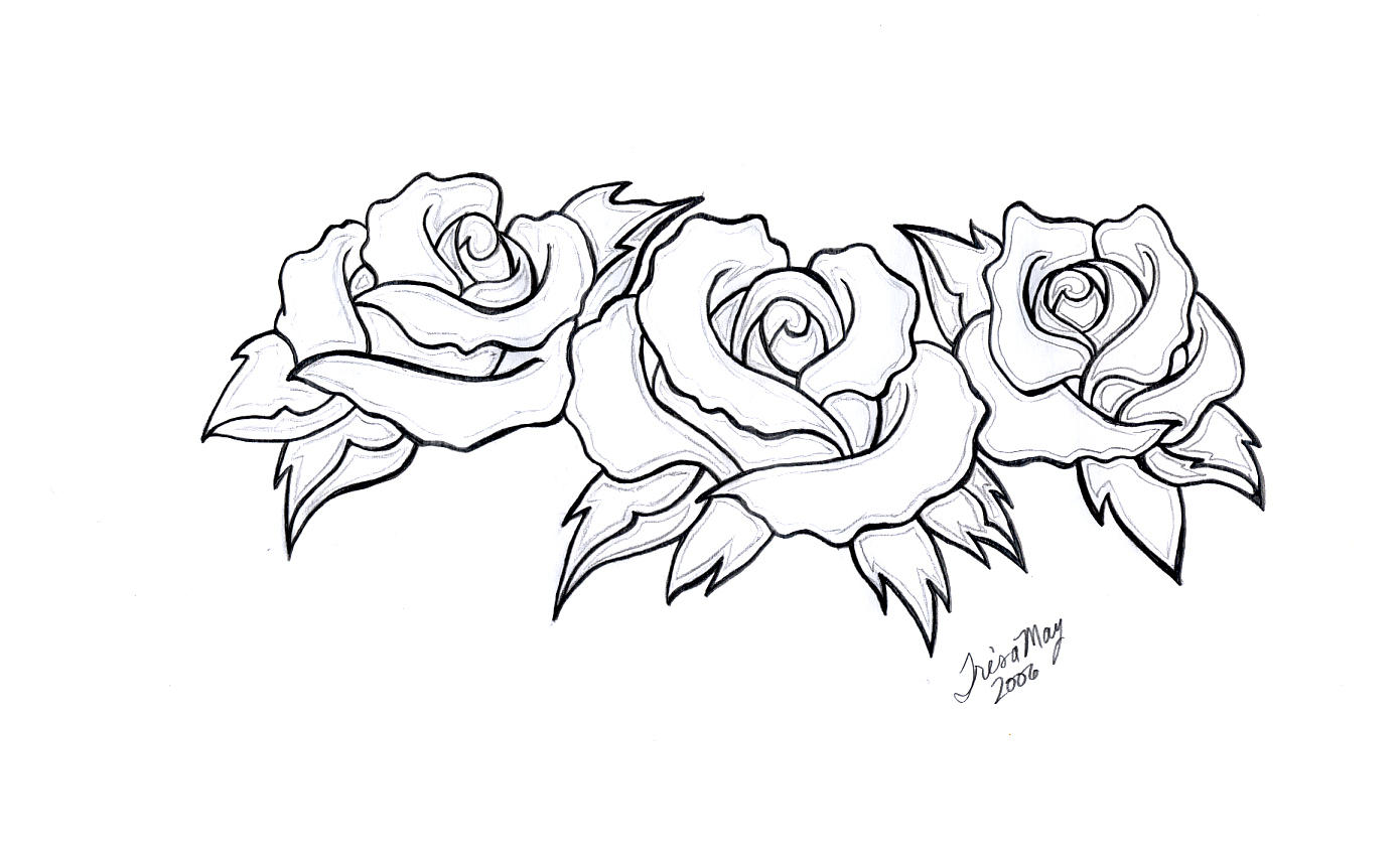 Tattoo Design Line Art : Three roses tattoo design by tailormaid on deviantart