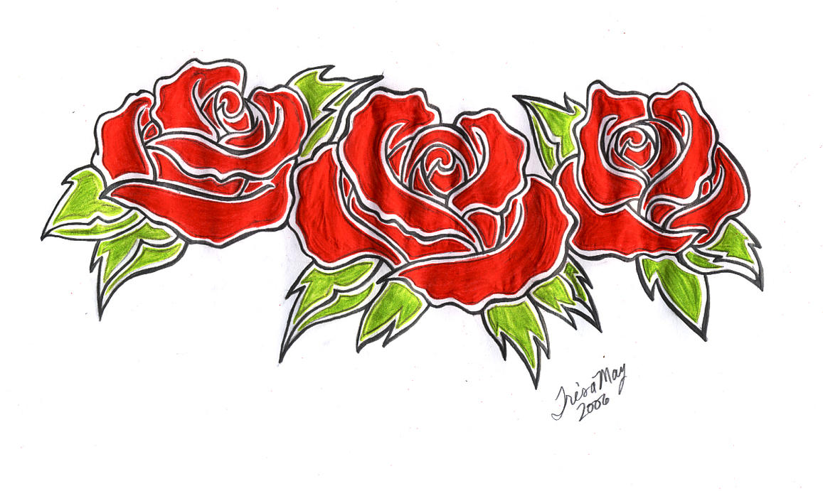 Three roses tattoo design colo by tailormaid on deviantart for 3 roses tattoo