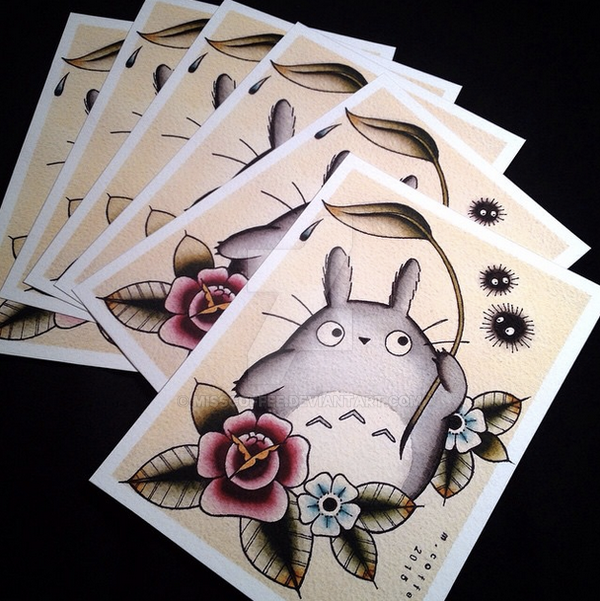 totoro tattoo flash prints by michelle coffee by misscoffee on deviantart. Black Bedroom Furniture Sets. Home Design Ideas
