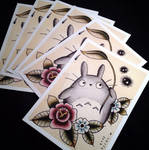Totoro Tattoo Flash Prints by Michelle Coffee