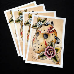 Jason Voorhees Tattoo Flash by Michelle Coffee