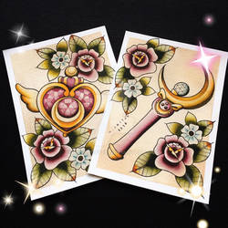 Sailor Moon Tattoo Flash by Michelle Coffee