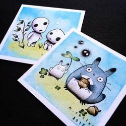 Totoro and Kodama Tattoo Prints by Michelle Coffee