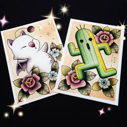 Moogle and Cactuar Tattoo Flash by Michelle Coffee