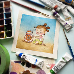 Rey and BB8 Watercolor Painting by Michelle Coffee