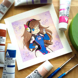 NERF THIS! D.VA Overwatch Watercolor Painting