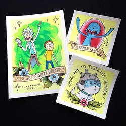 Rick and Morty Tattoo Flash by Michelle Coffee