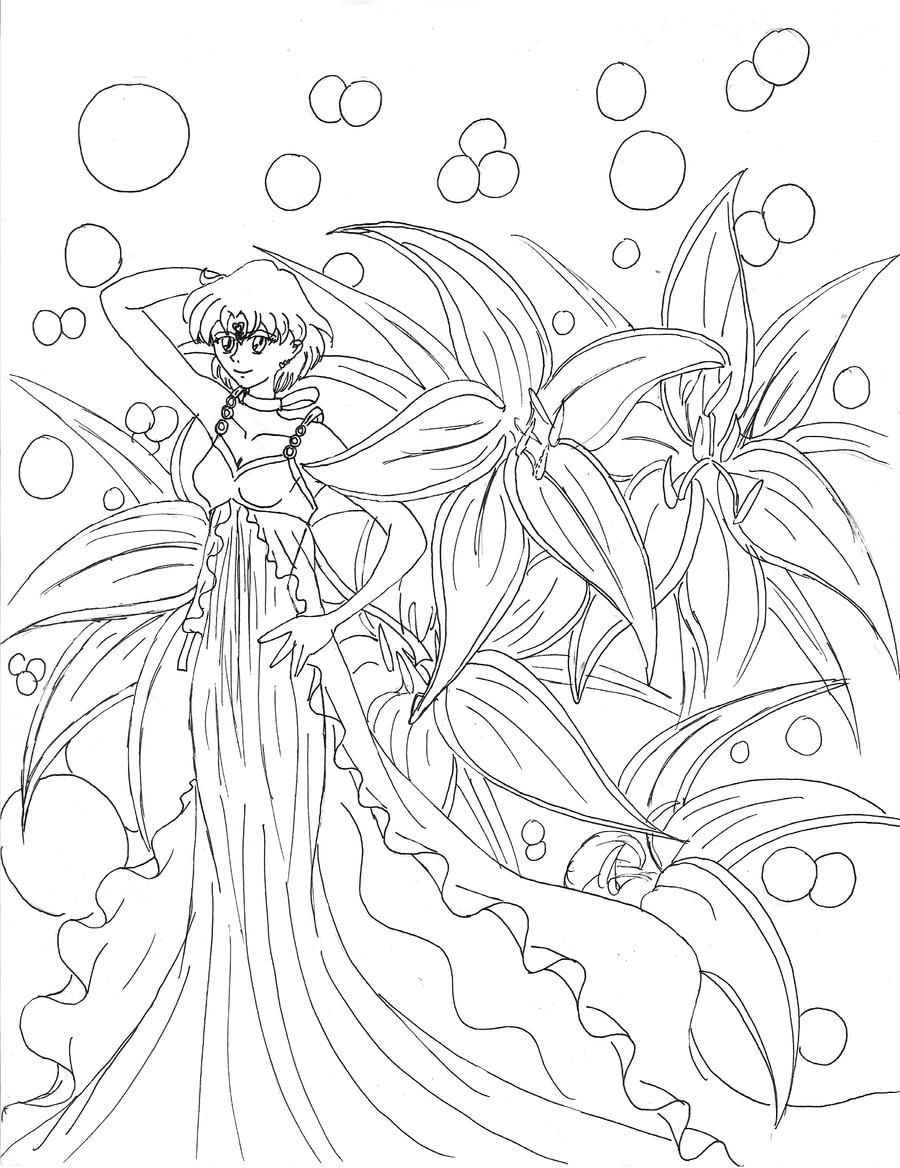 Line Drawing Water : Water lilly goddess line art by evilness on deviantart