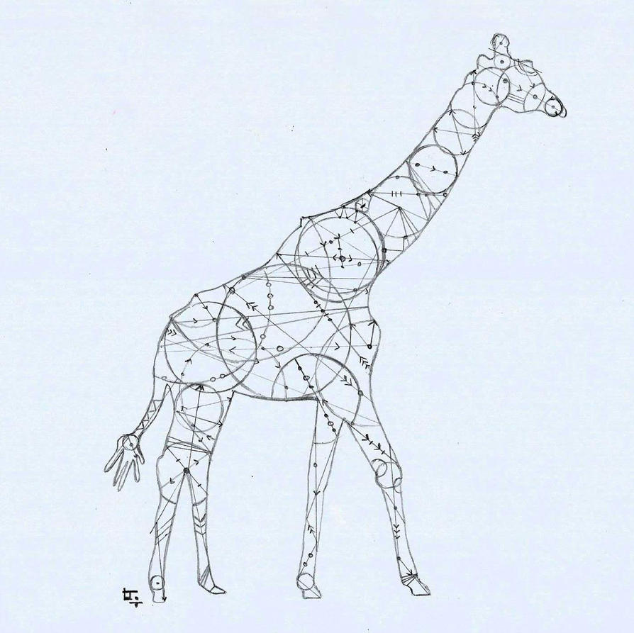 Geometric Animal Drawing Geometric Giraffe by l...