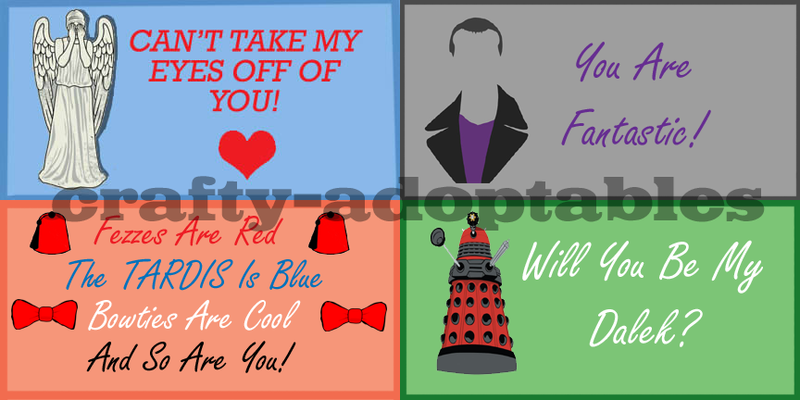 Doctor Who Valentines Cards Set of Four CHEAP by superwholock99 – Cheap Valentine Cards