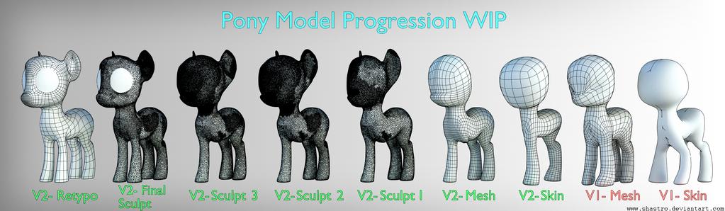 Blazed Pony's OC - [WIP] - Wireframe Progression by Shastro