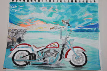 My Drawing of a Harley Davidson Motorcycle by WolfzArt13