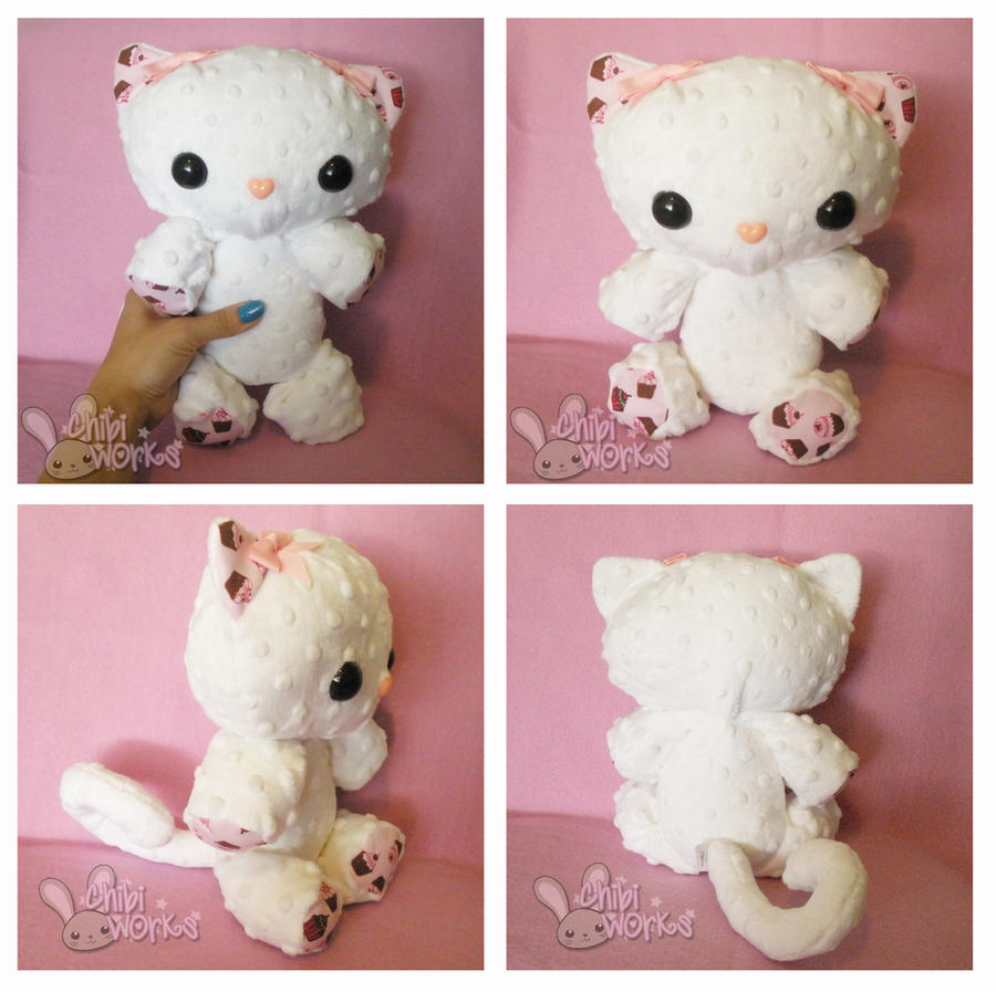 White with Cupcake Pattern PatterKitty by ChibiWorks