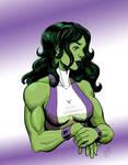 She-Hulk, streching, colorized