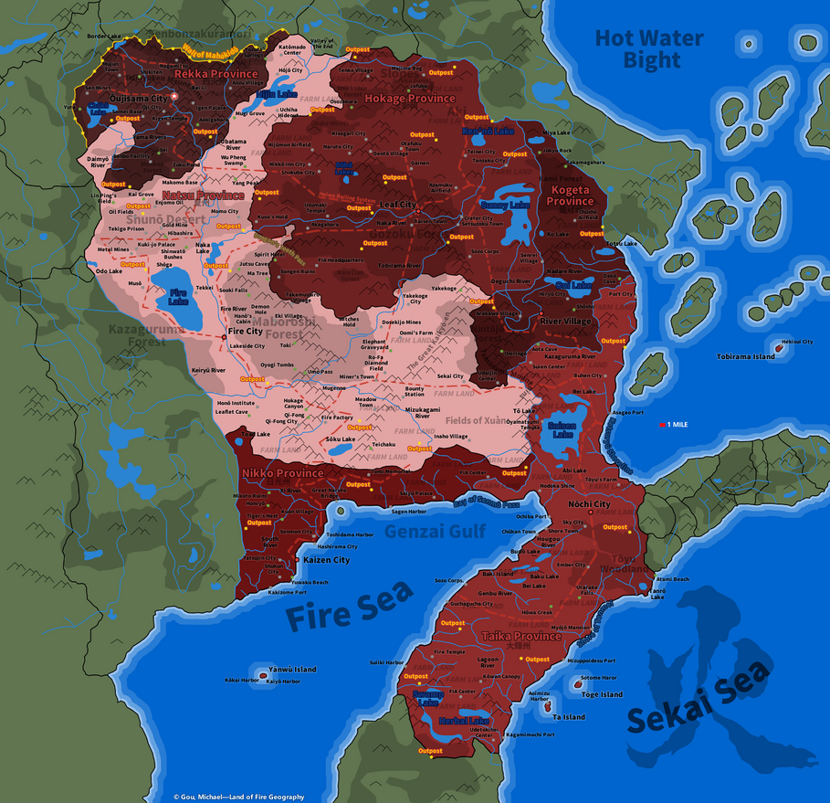 Naruto Map: Land Of Fire Geography By Fire Daimyo ...