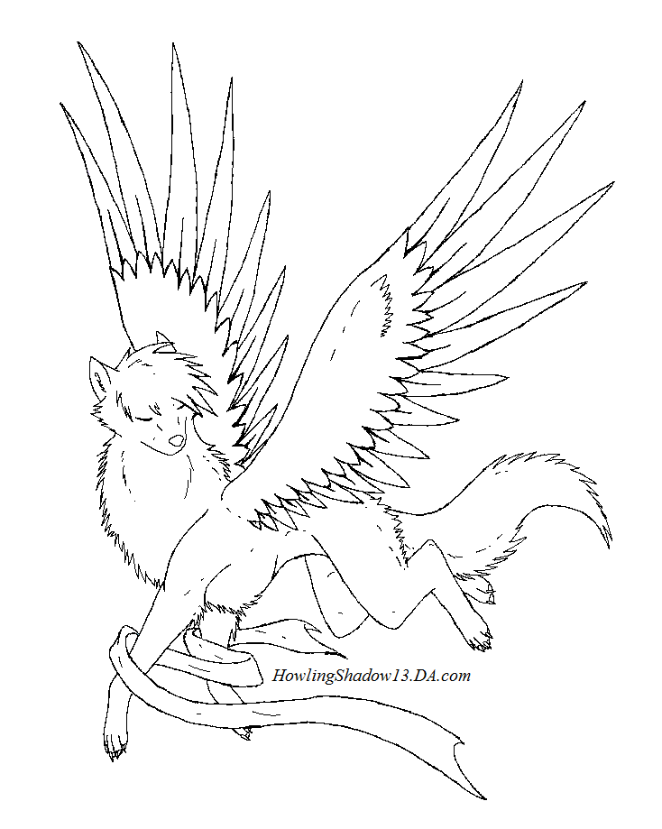 winged cat coloring pages - winged wolf lineart by howlingshadow13 on deviantart
