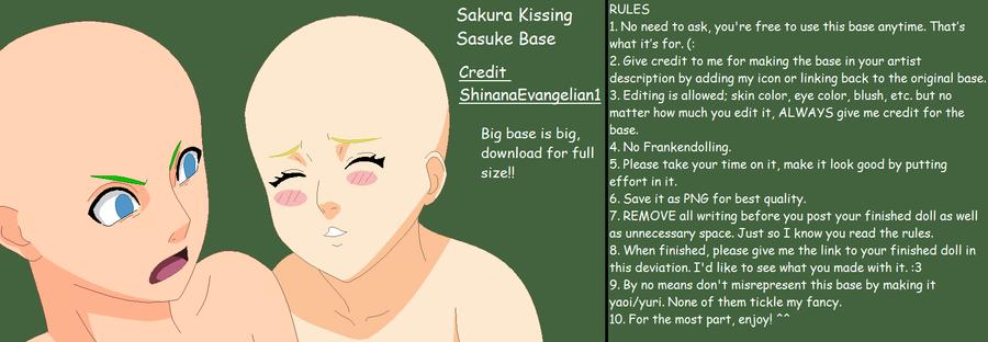 Sakura Kissing Sasuke Base by ShinanaEvangelian1