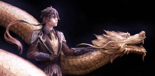 hot guy and his long dragon