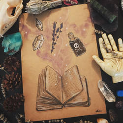 Inktober Day One: Witches Grimoire
