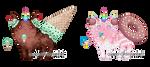 Custom Unicats - Ice Cream + Donut by Quapon