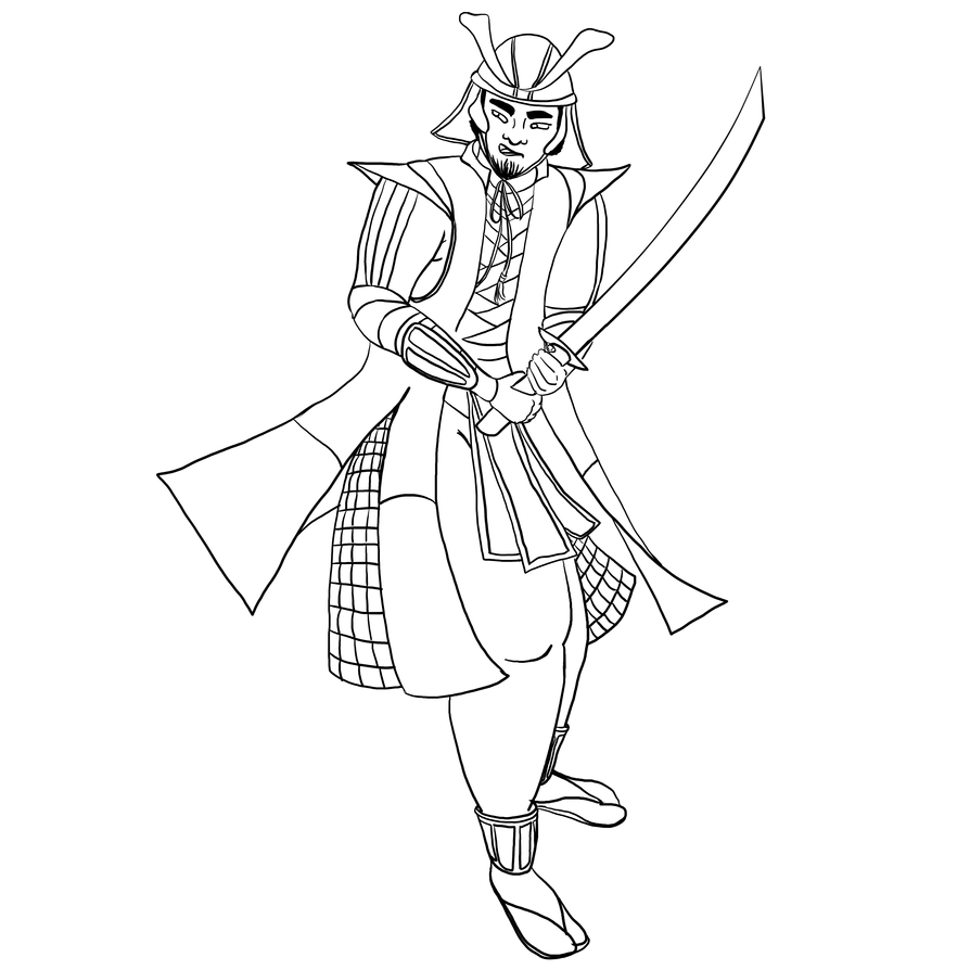 Samurai commission by laramagyar on deviantart for Japanese art coloring pages