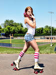 Roller Girl Stops to Pose