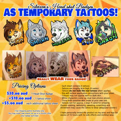 Temporary Tattoo Badges - OPEN NOW by Silvixen