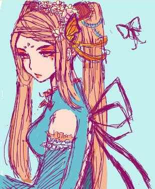 Butterfly Lady Iscribble by LampDesktopKeyboard