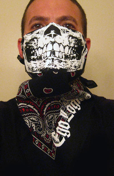 BLACK AND RED WHITE PAISLEY GANGSTER SKULL BANDANA by ...