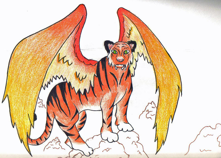 Tiger with wings drawings