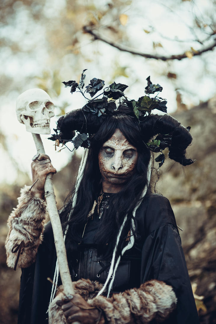 Forest witch with skull stock by Nerium-Oleanders on ...