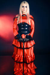Red gothic dress stock