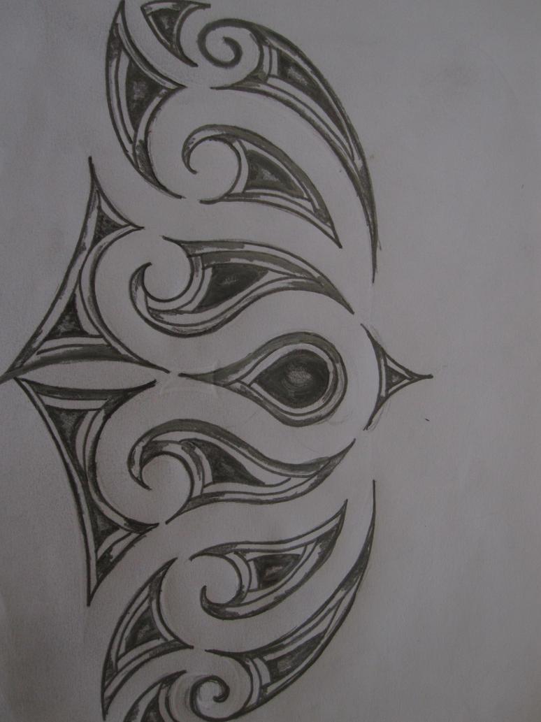 Maori Inspired Tattoo Design. Pencil Sketch By
