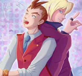 Apollo and Klavier (Ace Attorney) by Gini-Gini