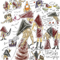 Silly Pyramid Head sketches by Silent-Neutral