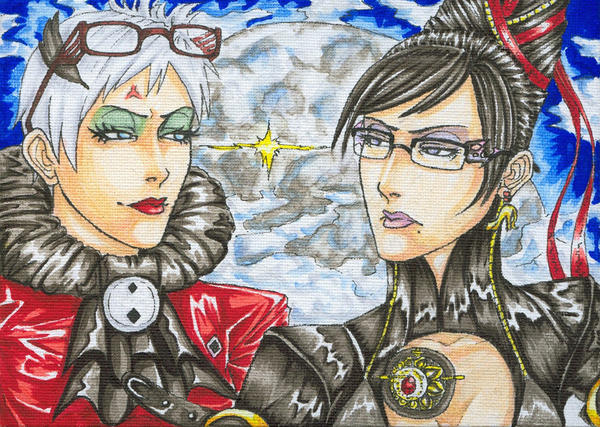 Bayonetta and Jeanne Rivalry by Silent-Neutral