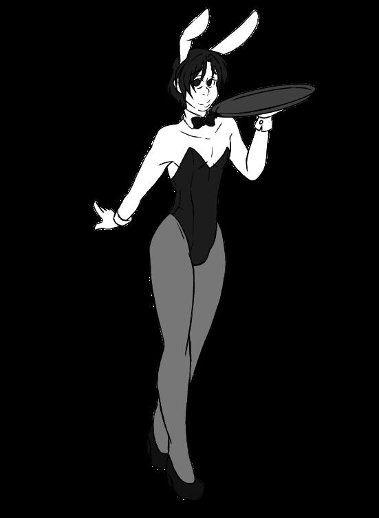 Pool Hall Bunny (Black n white ver) by LilMonsterGurl
