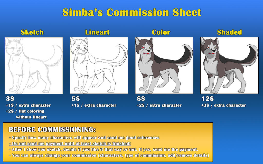 how to make a commission sheet