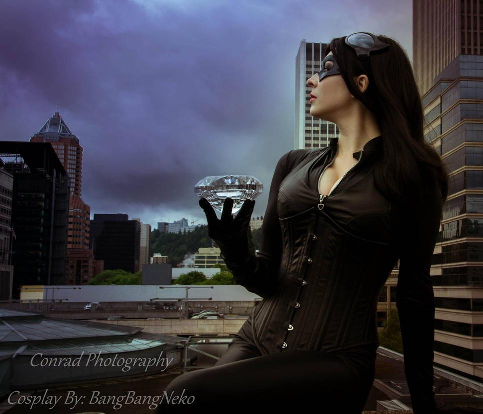 Catwoman overlooking Gotham City Overlook by BangBangNeko