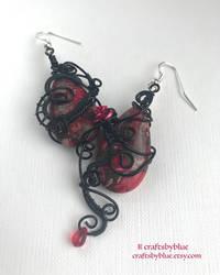 Dark Secrets - Elegant Gothic Red Jasper Earrings