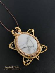 White Howlite Sea Turtle Gemstone Pendant