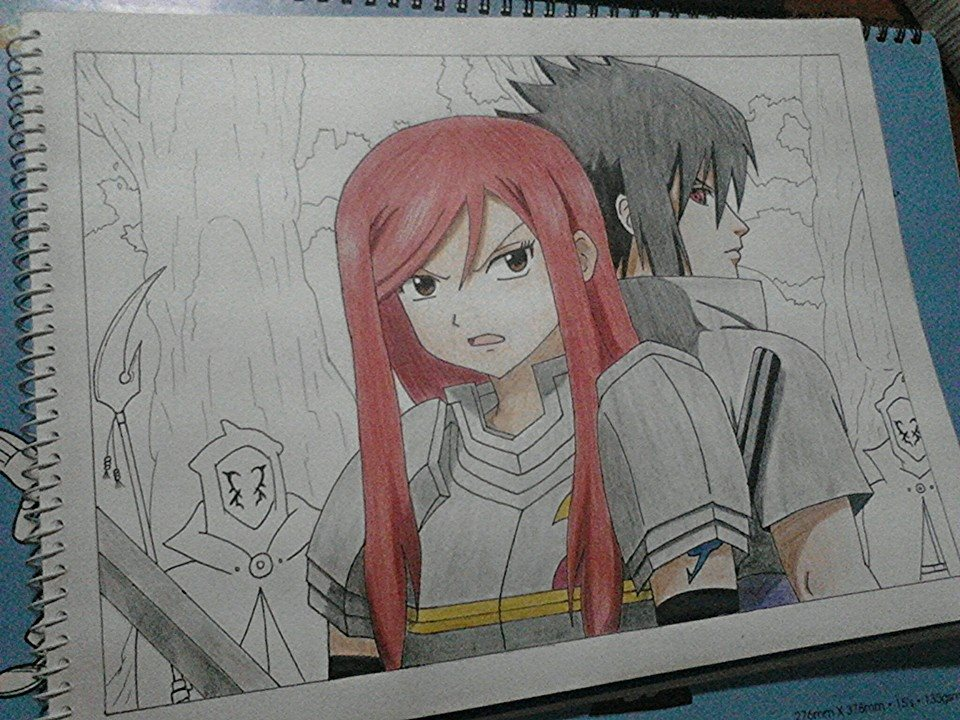 Fairy Tail Drawings Erza Stage 3 of Naruto x Fa...