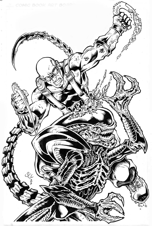 Alien vs riddick by slyaguilar on deviantart for Coloring pages aliens